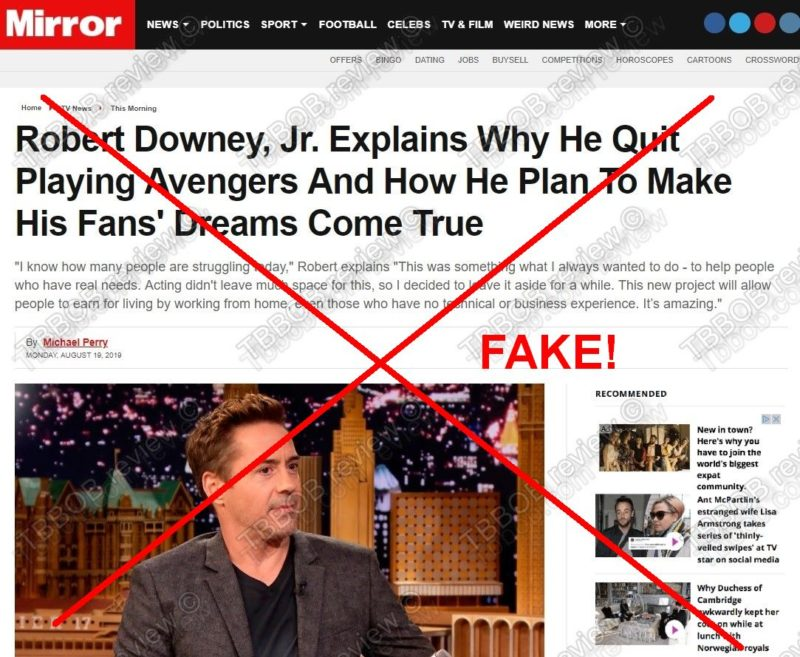 Robert Downey Jr. fake article in the Mirror.